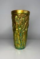 Zsolnay eozin mázas váza, hbátlan, 16 cm