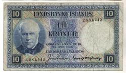 10 kronur 1928 Izland kék Ritka