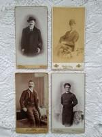 4 db antik, magyar kabinetfotó/keményhátú  fotó, férfi portrék, Strelisky, Divald, Hirsch, stb.