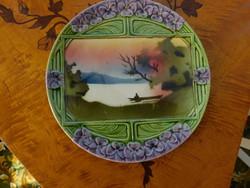 Antik körmöcbányai torta tál, talpas torta tartó, tányérok