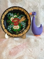 21163A4 Kézzel festett ritka népi motívumos Zsolnay porcelán falitányér