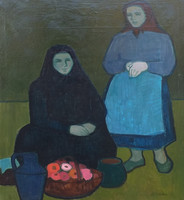 Koszta Rozália (1925 - 1994) : Kendős lányok virágokkal