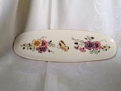 Hibátlan, gyönyörű Zsolnay pillangós porcelán tálca