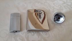 Fém dohányzási kellékek:  Cigarettatartó P feliratú, gyújtó alkatrészek