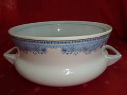 Hollóházi porcelán leveses tál kék mintával, átmérője 22 cm.