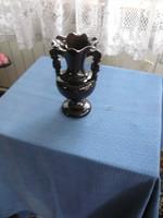 Barna mázas kerámia 2 fülű kancsó/virágváza