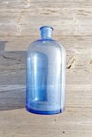 Antik, jelzett, kék patika, gyógyszeres üveg