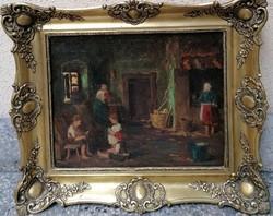 Gaál Ferenc (1891-1956) Falusi konyha c.Festménye Eredeti Garanciával !