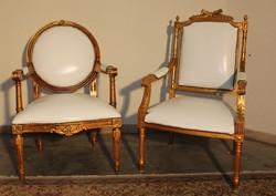 Aranyozott Francia barokk karfás székek