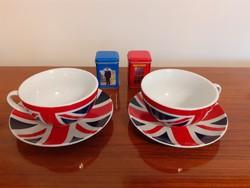 Angol zászlós porcelán teás csésze fémdoboz teás doboz 4 db