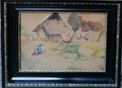 Neogrády Antal (1861-1942) Akvarell Eredeti Garanciával
