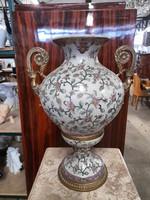 Porcelán rézzel kombinált Füles váza
