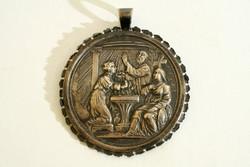 Antik 19.sz. Ezüst Keresztelőérem d=6cm   Keresztelő Pohár Készlet Ajándék Keresztelőre
