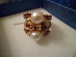 14K arany gyűrű / rubin, gyöngy