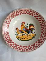 Kakasos porcelán-fajansz falitányér