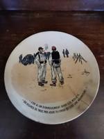 Antik háború jelenetes Sarreguemines fali tányér 22 cm átmérőjű