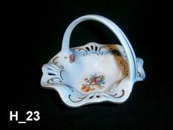 Nagyon szép virág mintával festett, áttört Lippelsdorfi porcelán füles kosár
