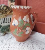 21 cm magas virágos Sárospataki kerámia szilke köcsög korsó nosztalgia paraszti  falusi dekoráció