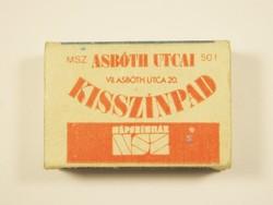 Retro reklám gyufa gyufásdoboz - Népszínház Józsefvárosi színház Asbóth utcai kisszínpad - 1970-es