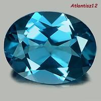 VALÓDI, 100% TERMÉSZETES LONDON BLUE TOPÁZ DRÁGAKŐ 1,95ct - (IF)!!! TISZTASÁGÚ