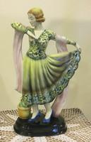 Art-deco táncos lány, Herzinger&Co Volkstedt-Rudolstadt, kb.1920-s évek,33 cm magas