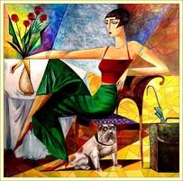 Kései várakozás c. KUBISTA AKT festmény