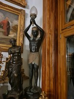 Amazing pair of iron and copper statues (lamps)