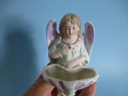 Meseszép antik XIX. századi angyalkás porcelán szenteltvíz tartó