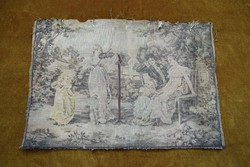 Antik zsáner jelenet falikárpit részlet francia zsakard gobelin szövet 45 x 31 cm sérült
