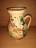 Antik mázas kerámia szilke tejfölös lekváros köcsög edény bögre 24,5 cm