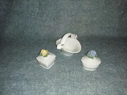 Régi  porcelán rózsás ékszertartó kosár készlet (z-1)