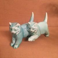 Zsolnay macskapár, macskák, cicák, alapmázas, ritka
