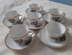 Régi Hollóházi porcelán mokkás csésze +csészealj (6 személyes)