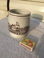 Retro hollóházi bögre csupor csésze magyar város képpel - templom - jelzett