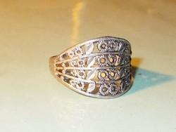 Antik Díszes Tibeti ezüst Ötvös Gyűrű 8-as