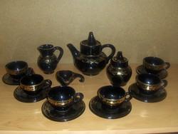 Fekete porcelán kávés készlet arany díszítéssel (14/K)