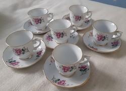 Bájos kínai porcelán mokkás csésze +csészealj (6 személyes)