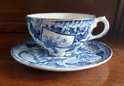 Franz Anton Mehlem Royal Bonn fajansz teás csésze szett Tokio dekorral 1890 -1920.