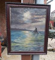 Gyönyörű vitorlás  hajós festmény Nosztalgia,Kiss Sándor Szignóval Falusi paraszti dekoráció