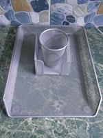Irodaszer szett készlet asztali fémhálós ezüst új!