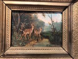 Sovánka jelzéssel, festmény, olaj, fán, 10 x 13 cm-es nagyságú