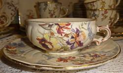 Antik Sarreguemines fajansz  csésze szett Lavalliere dekorral.