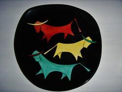 Retro , bikákat ábrázoló fali tányér , 22.5 cm