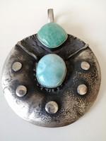 Kézműves ezüst medál larimárral és türkizzel