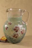 Antik kézzel festett szakított üvegkancsó 242