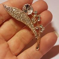 Aranyozott kristály bross 4 cm-es