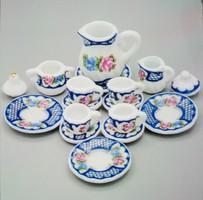 Miniatűr porcelán teás készlet 15db-os