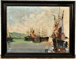 Antik kb.100 éves olajfestmény mediterrán kikötő vastagon festőkéssel megfestett 90x70cm EREDETI !
