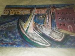 Kikötő szignált festmény!