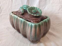 Régi Strehla Keramik nagyobb német festett mázas kerámia doboz bonbonier